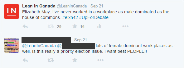 Twitter responses to equal gender representation